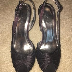 Unlisted Black Satin Open Toe Slingback Heels